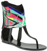 Printed Flat Leather Sandals