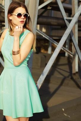 Girls On Film Blue Floral Embossed Skater Dress