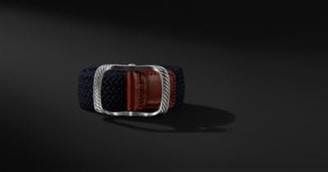 David Yurman Maritime Cable Buckle With Blue Woven Belt