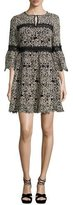 Nanette Lepore 3/4-Sleeve Embroidered Floral Mini Dress, Cream/Black