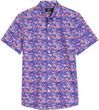 1901 Slim Fit Flamingo Print Short Sleeve Button-Down Shirt