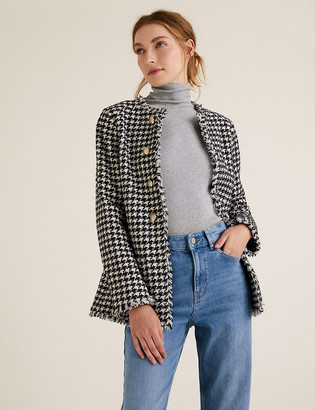 Marks and Spencer Tweed Straight Dogtooth Longline Jacket