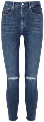 Good American Good Waist Crop Distressed Skinny Jeans