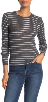 Vince Wool Stripe Rib Knit Shirt