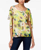 Bar III Cold-Shoulder Tie-Sleeve Top, Created for Macy's