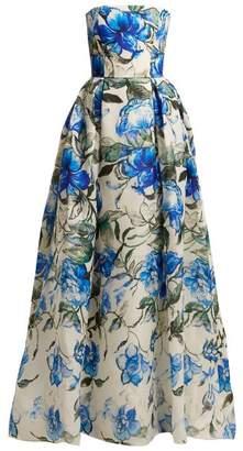Carolina Herrera Floral Print Strapless Silk Gown - Womens - Blue White