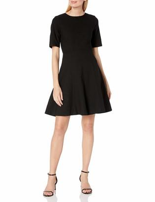 Lark & Ro Amazon Brand Women's Half Sleeve Textured Full Flare Dress