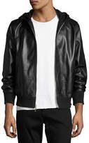 Rag & Bone Christopher Black Leather Hooded Bomber Jacket, Black