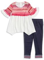 Little Lass Little Girl's Asymmetric Tunic Top and Leggings Set