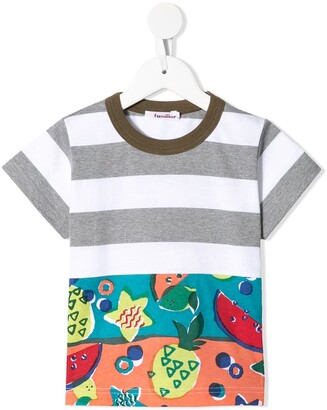 Familiar contrast-panel printed T-shirt