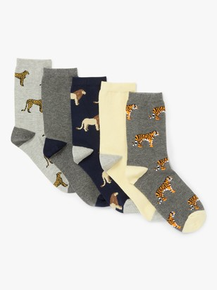 John Lewis & Partners Cotton Mix Safari Animals Ankle Socks, Pack of 5, Multi