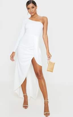PrettyLittleThing White One Shoulder Drape Skirt Maxi Dress