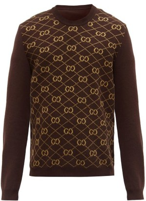 Gucci GG Logo-jacquard Wool Sweater - Beige