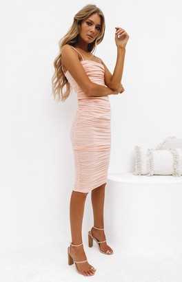 Beginning Boutique Dominica Shirred Midi Dress Peach