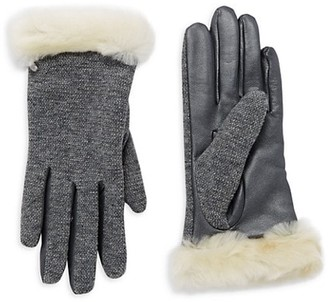 UGG Mixed Media Faux Fur Shearling-Trimmed Gloves