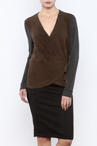 Ecru Lamb Suede Wrap Top