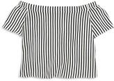 Aqua Girls' Striped Off the Shoulder Top, Big Kid - 100% Exclusive