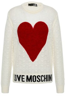 Love Moschino Felt-appliqued Pointelle-knit Sweater