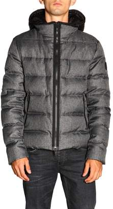 Fay Jacket Nathan Short Waterproof Nylon Down Jacket With Wool Effect And Hood