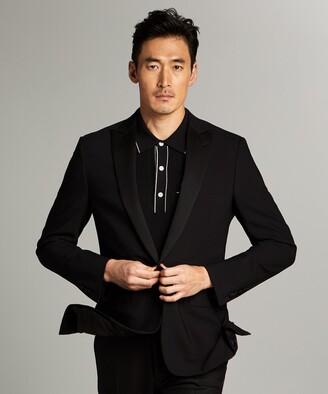 Todd Snyder Black Label Sutton Peak Lapel Tuxedo Jacket in Black Italian Wool