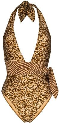 Zimmermann Empire belted leopard-print swimsuit