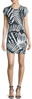Just Cavalli Kraken Printed Short-Sleeve Dress, Black/White