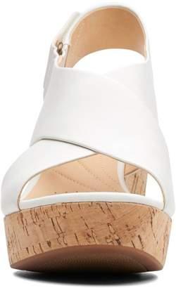 Clarks Maritsa Lara Leather Chunky Heeled Sandals - White