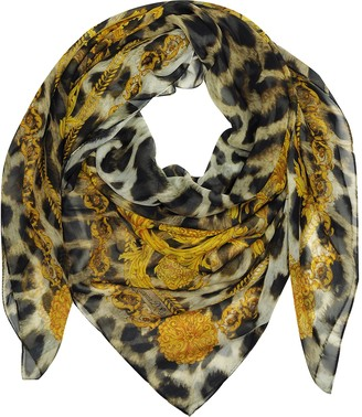 Marina D'Este Gold and Leopard Print Pure Silk Wrap