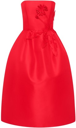 Oscar de la Renta Strapless Silk Flared Dress