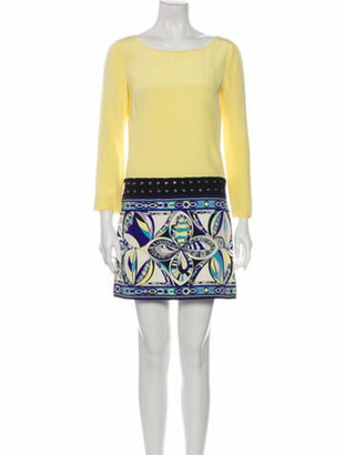 Emilio Pucci Silk Mini Dress Yellow