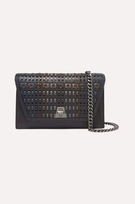 Akris Anouk City Woven Textured-leather Shoulder Bag - Black