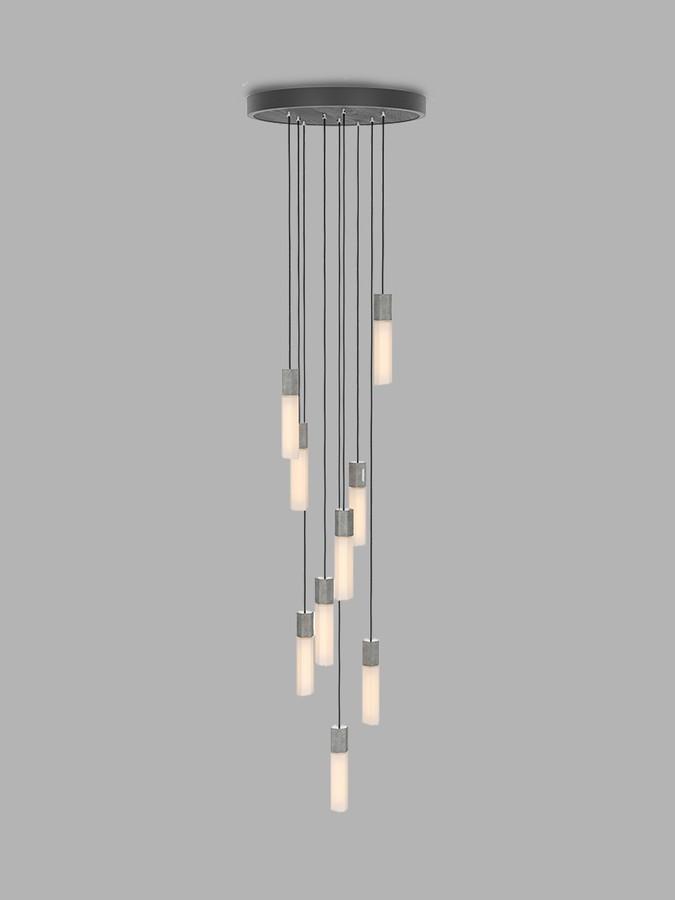 Tala Basalt LED Nine Pendant Cluster Ceiling Light