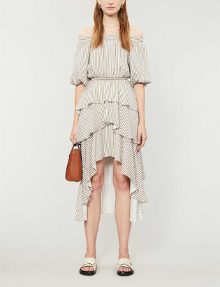 Maje Striped off-the-shoulder woven midi dress