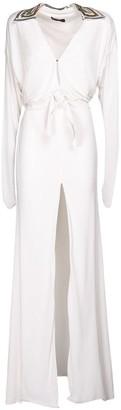 Dundas Deep V Neck Jersey Long Dress W/ Sequins
