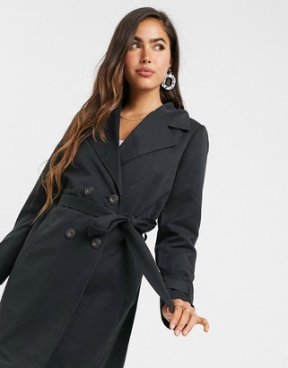 Vero Moda double breasted trench coat with tie belt in black