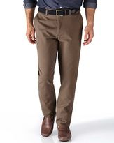 Charles Tyrwhitt Light Brown Extra Slim Fit Flat Front Cotton Chino Trousers Size W34 L38