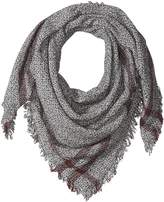 D&Y Women's Solid Woven Square Scarf with Stripe Border