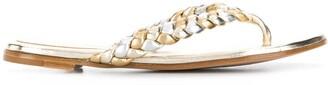 Gianvito Rossi Metallic Leather Plait Flip-Flops