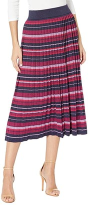 Kate Spade Striped Pleated Skirt (Interstellar Blue) Women's Skirt