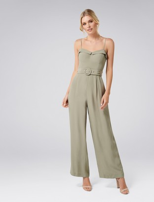 Forever New Mimi Belted Jumpsuit - Gental Khaki - 4