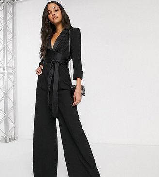 Asos Tall DESIGN Tall plunge tux jumpsuit with wide leg-Black