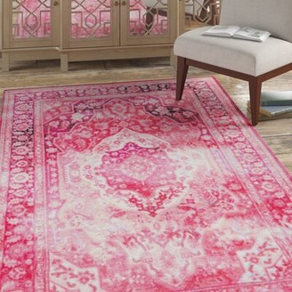 Bungalow Rose Blair Power Loomed Pink Area Rug Rug Size: 5'x8'