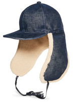 Stella McCartney Stretch-denim And Faux Shearling Hat - Blue