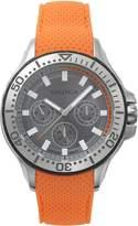 Nautica Men's 'AUCKLAND' Quartz Stainless Steel and Silicone Casual Watch, Color:Orange (Model: NAPAUC002)