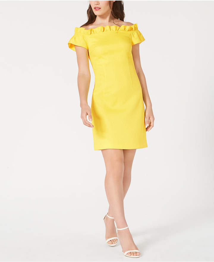 Trina Turk Trina Ruffled Off-The-Shoulder Shift Dress