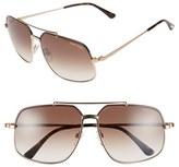 Tom Ford Women's 'Ronnie' 60Mm Aviator Sunglasses - Shiny Black/ Brown Mirror
