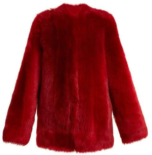 Raey 1970s Shearling Coat - Womens - Red