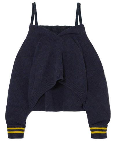 Maison Margiela Cold-shoulder Striped Wool-blend Sweater - Navy