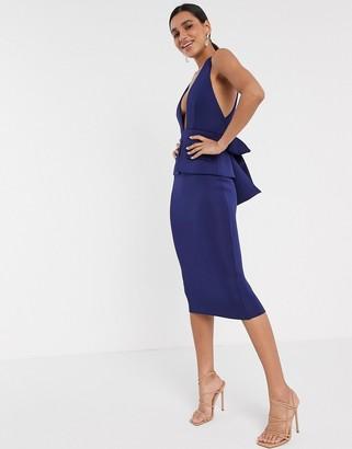 ASOS DESIGN plunge pocket detail midi dress with tie waist in navy