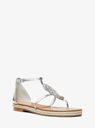Michael Kors Annabeth Seahorse-Embellished Metallic Leather Sandal